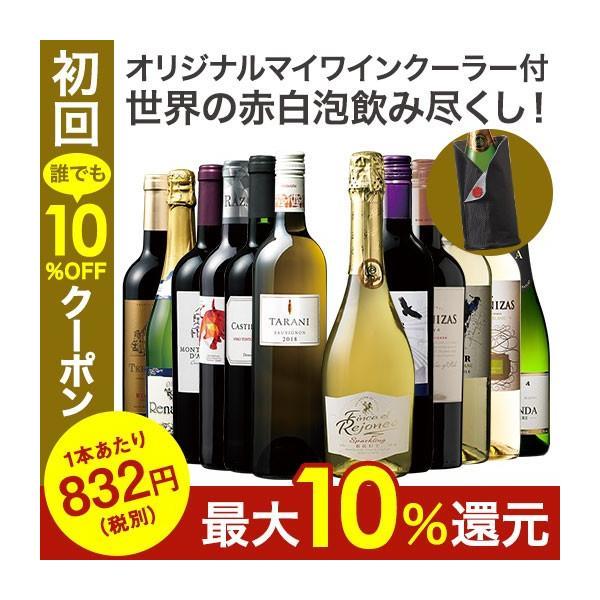 ワインセット  40%OFF ワインクーラー付き! 世界飲み尽くし赤白泡バラエティ12本セット 第2弾 フルボディ 辛口 泡 送料無料
