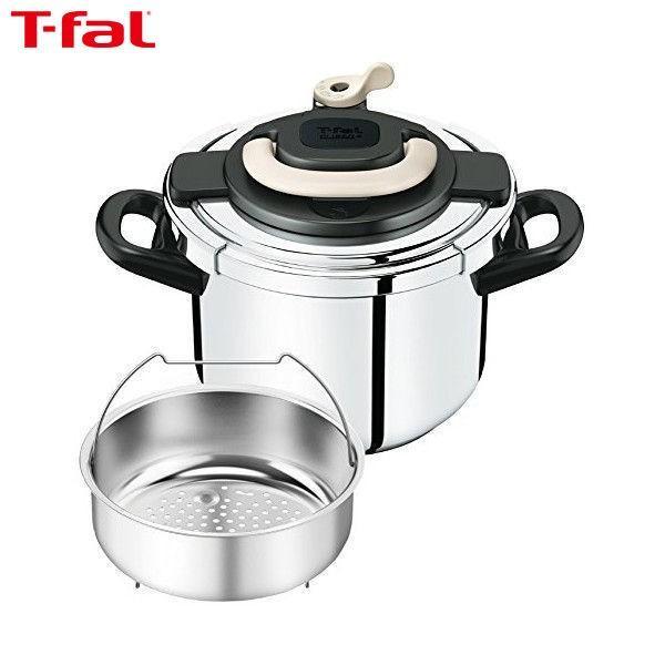 T-fal(ティファール) ワンタッチ開閉圧力なべ クリプソ アーチ 6L アイボリー P4360731|n-kitchen
