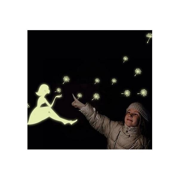 ウォールステッカー 光る タンポポのわたげ 女の子 蛍光シール ロマンチックな ナイトグロウ 蓄光 送料無料|n-m|02