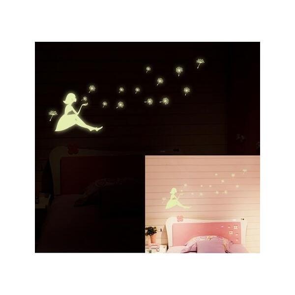 ウォールステッカー 光る タンポポのわたげ 女の子 蛍光シール ロマンチックな ナイトグロウ 蓄光 送料無料|n-m|03