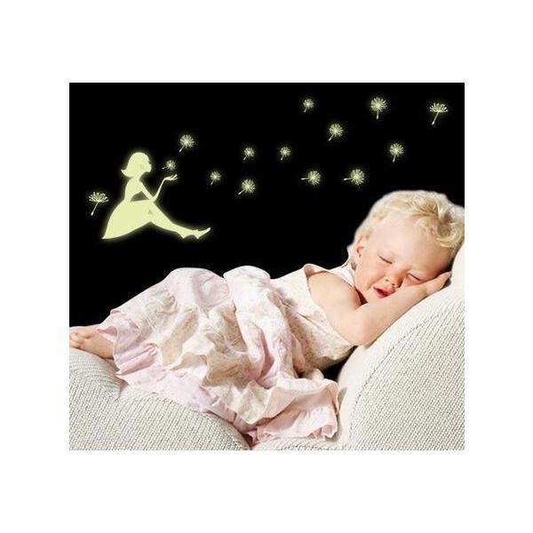 ウォールステッカー 光る タンポポのわたげ 女の子 蛍光シール ロマンチックな ナイトグロウ 蓄光 送料無料|n-m|05