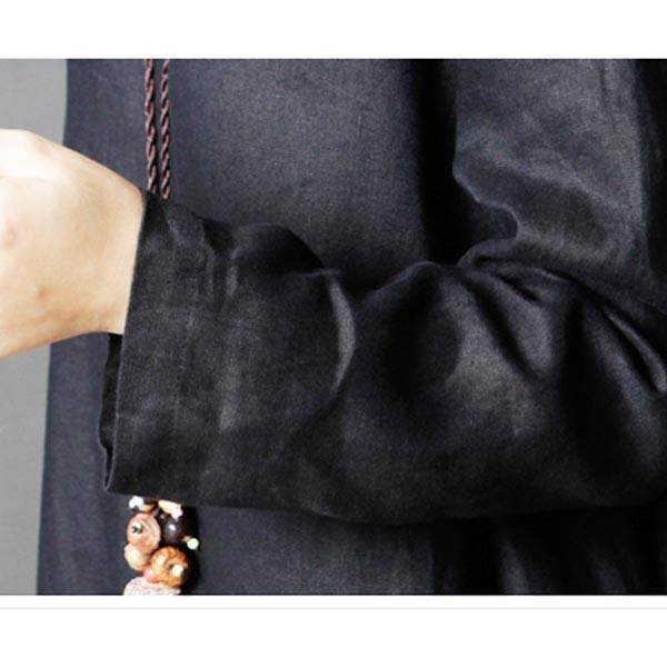 綿麻 リネン ワンピース ロング 長袖 無地 レディース ロング丈 体型カバー ゆったり  ブラック カーキ レッド メール便のみ送料無料2♪5月20日から31日入荷予定 n-martmens 11