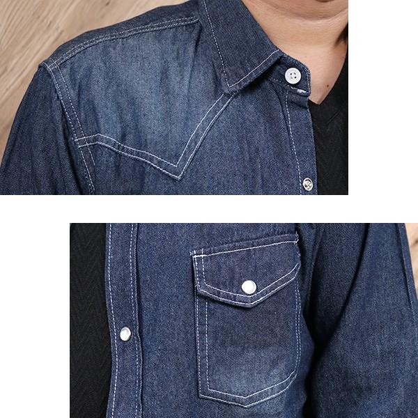 デニムシャツ メンズ 長袖 ヴィンテージ加工 ユーズド加工 ウォッシュ デニム シャツ メンズシャツ メール便 送料無料|n-martmens|11