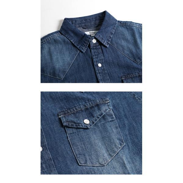 デニムシャツ メンズ 長袖 ヴィンテージ加工 ユーズド加工 ウォッシュ デニム シャツ メンズシャツ メール便 送料無料|n-martmens|13