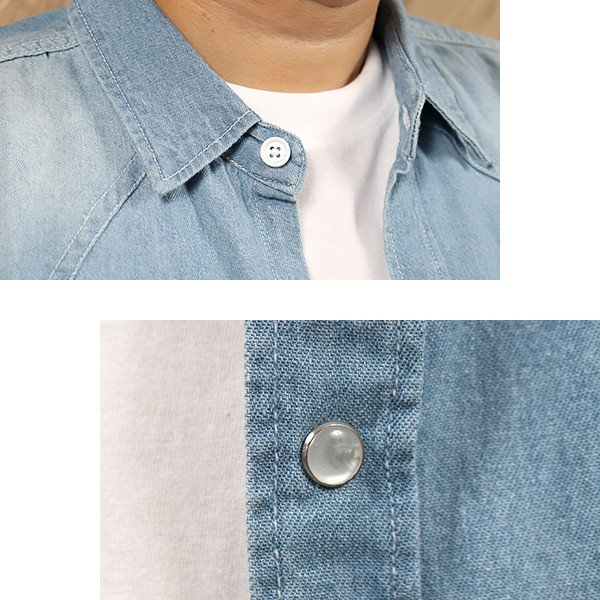デニムシャツ メンズ 長袖 ヴィンテージ加工 ユーズド加工 ウォッシュ デニム シャツ メンズシャツ メール便 送料無料|n-martmens|05