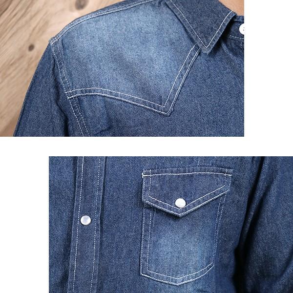 デニムシャツ メンズ 長袖 ヴィンテージ加工 ユーズド加工 ウォッシュ デニム シャツ メンズシャツ メール便 送料無料|n-martmens|08