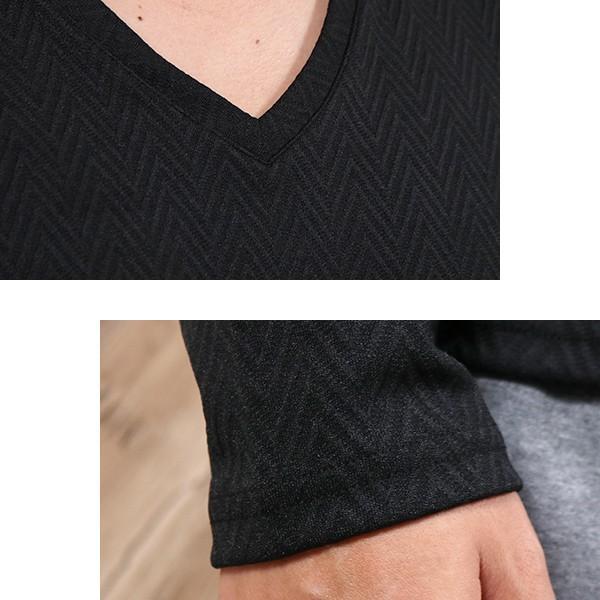 長袖Tシャツ メンズ カットソー 長袖 ロンT 無地 ジャガード おしゃれ きれい目 カジュアル メール便 送料無料|n-martmens|08