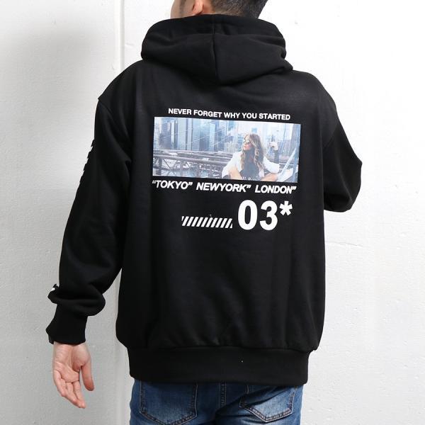 パーカー メンズ ビッグシルエット プルオーバー プリント デザイン ストリート フォト プリント 袖 ロゴ 宅配便|n-martmens|06