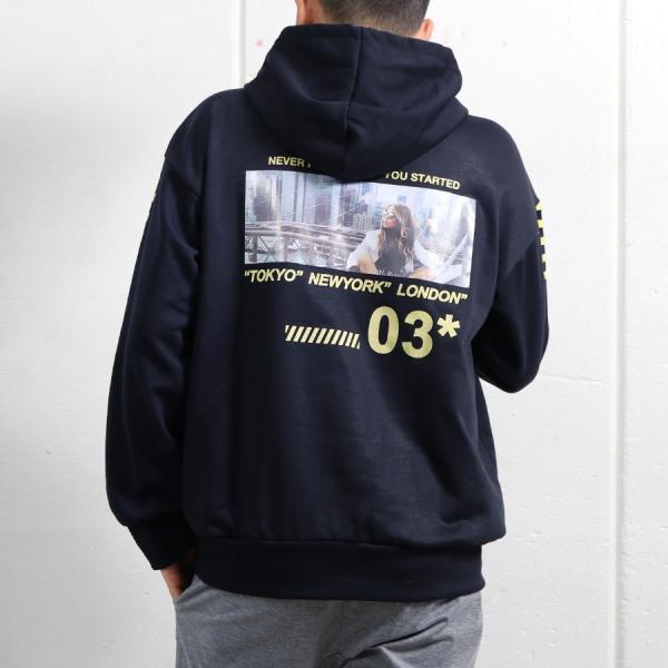 パーカー メンズ ビッグシルエット プルオーバー プリント デザイン ストリート フォト プリント 袖 ロゴ 宅配便|n-martmens|08