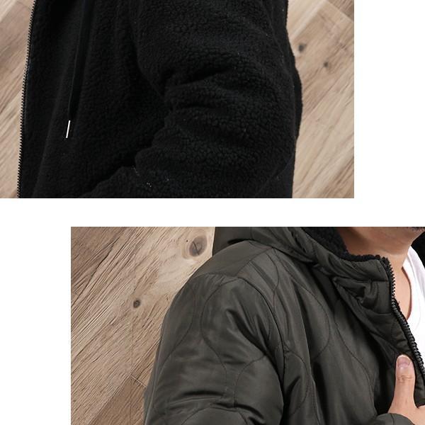 ボア パーカー メンズ ジャケット リバーシブル ブルゾン キルティング 中綿 ボアジップパーカー 秋 冬 暖かい 宅配便 n-martmens 06
