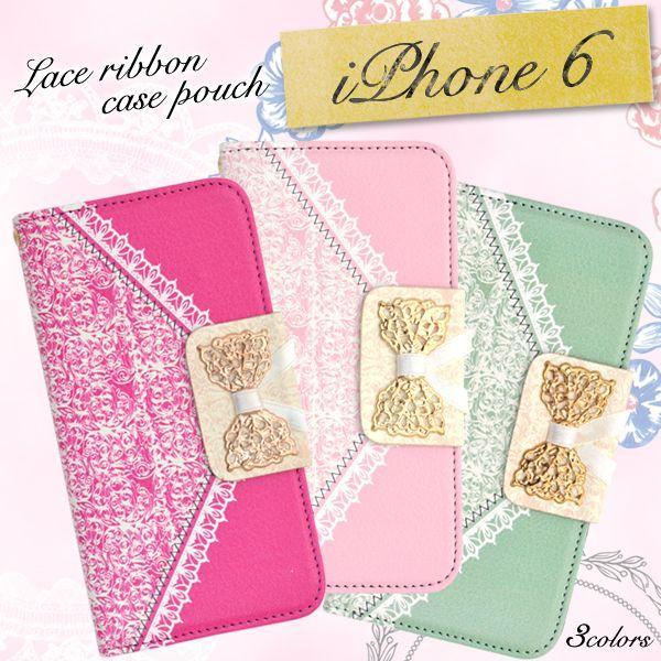 レースリボンのついた、手帳型iPhone6ケース  *N-Style*