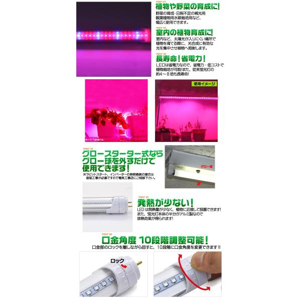 植物育成用LED蛍光灯 20W型/60cm グロー式工事不要 室内栽培 2年保証|n-style|02