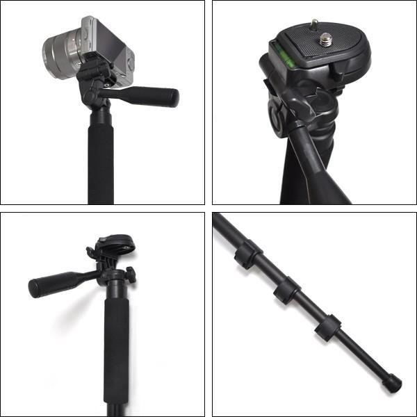 カメラ一脚スタンド 軽量 一眼レフ・デジタルカメラ対応 3段伸縮式|n-style|03