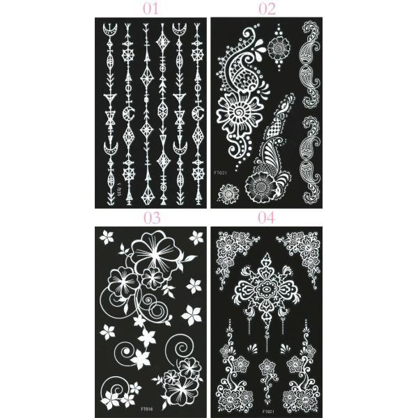 デコシート(ホワイト/白) スマホ用デコシール13×7.8cm タトゥー柄 13種類 n-style 03