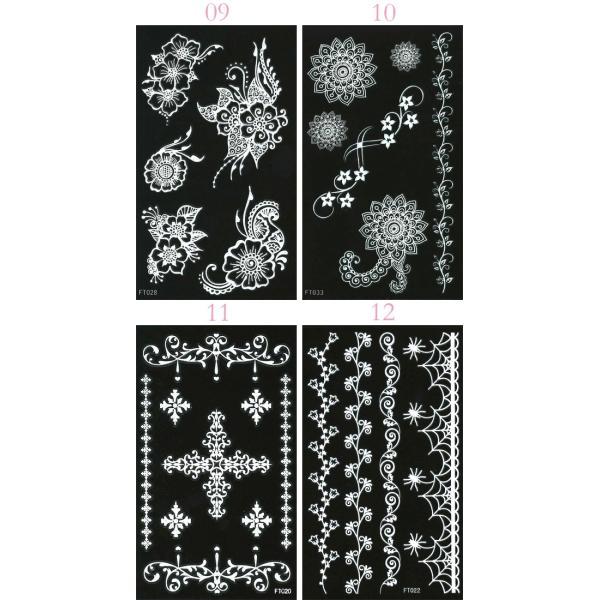 デコシート(ホワイト/白) スマホ用デコシール13×7.8cm タトゥー柄 13種類 n-style 05
