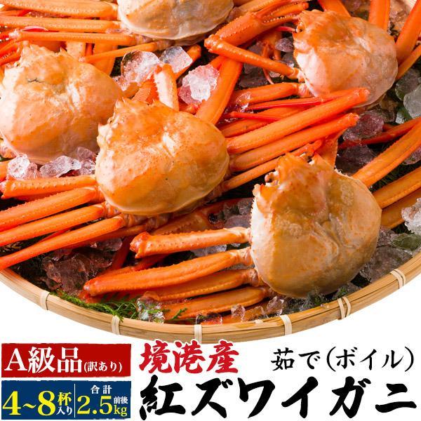 紅ずわい蟹 姿 5杯(合計2.5kg前後)茹で ボイル A級品 訳あり 紅ズワイガニ 境港直送 国産 未冷凍 ギフト