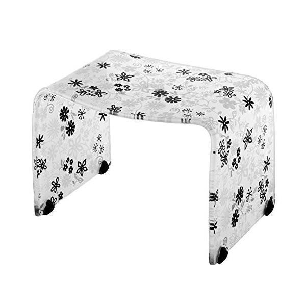 風呂椅子 バスチェアー Mサイズ フィルロ フラワー ブラック リス|n-tools