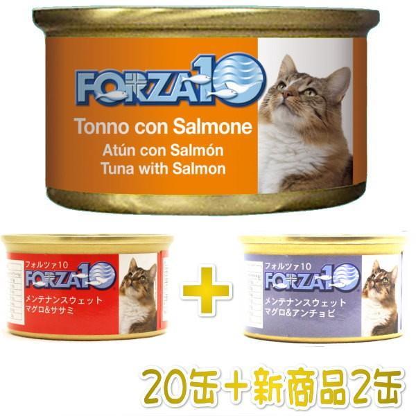 最短賞味2022.2・新商品+2缶キャンペーン!フォルツァ10 猫用マグロ&サーモン 85g 20缶+2缶 fo05654s22 0412085 nachu