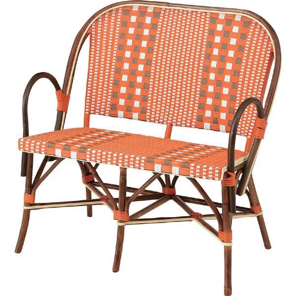 メーカー直送 トルプ 二人掛けチェア オレンジ 幅90cm ラタン 椅子 イス いす ソファー ベンチ アジアン リゾート ガーデン おしゃれ 人気 おすすめ