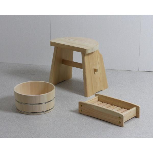 風呂桶 湯桶 木 木製 風呂椅子 バスチェア ひのき ひのきの湯3点セット (湯桶+ハイタイプ風呂イス+シャンプー台) 日本製