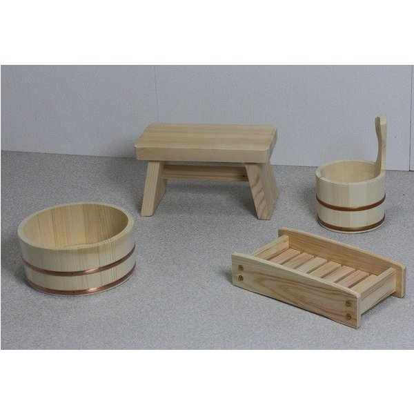 風呂の椅子 湯桶 風呂桶 片手 イス 木の湯4点セット (湯桶+風呂イス+シャンプー台+片手湯桶)