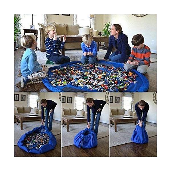 おもちゃ 収納袋 マット 自宅用 & 車内用 & 外遊びに 大小の2個セット レゴ ぬいぐるみ ブロック  150センチ 45センチ nagomi-company 05