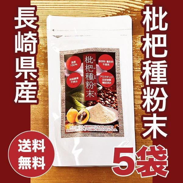 びわ種 長崎県産 枇杷種粉末 ビワの種100% 100g×5袋