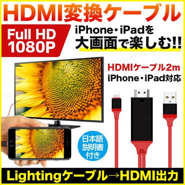 HDMI変換ケーブルiPhoneミラーリングライトニングLightningケーブルUSB有線スマホiPadiOSTVモニター映像