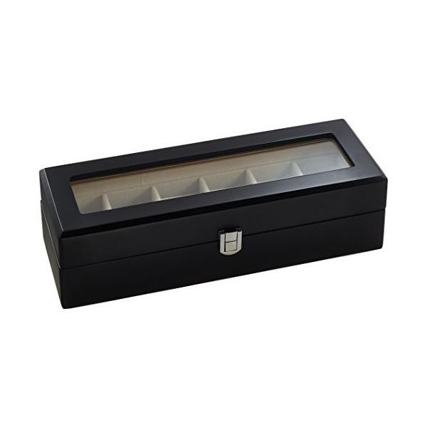 ウォッチミージャパンWatchme Japan 腕時計 木製 収納ケース 6本用 マット加工 ブラック ガラス窓 awc-001