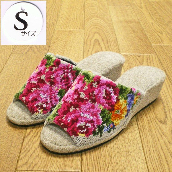 エトワールオリジナル 婦人用花柄高級ヒールスリッパ シャンティ Sサイズ(22cm程度) ベージュ