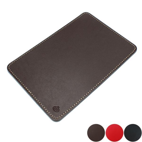 マウスパット 牛革 レザーマウスパット 長方形 パソコン小物 レザー文具 各色 チョコ ブラック レッド
