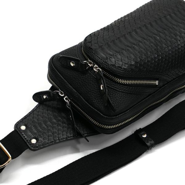 蛇革 パイソン革 本革 ボディーバック ワンショルダーバッグ メンズ 斜めがけ 大容量 マット ブラック 2