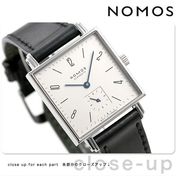 ノモス NOMOS ドイツ製 手巻き 406 テトラ スモールセコンド 30mm レディース 腕時計 TT1A1W2L シルバー×ブラック