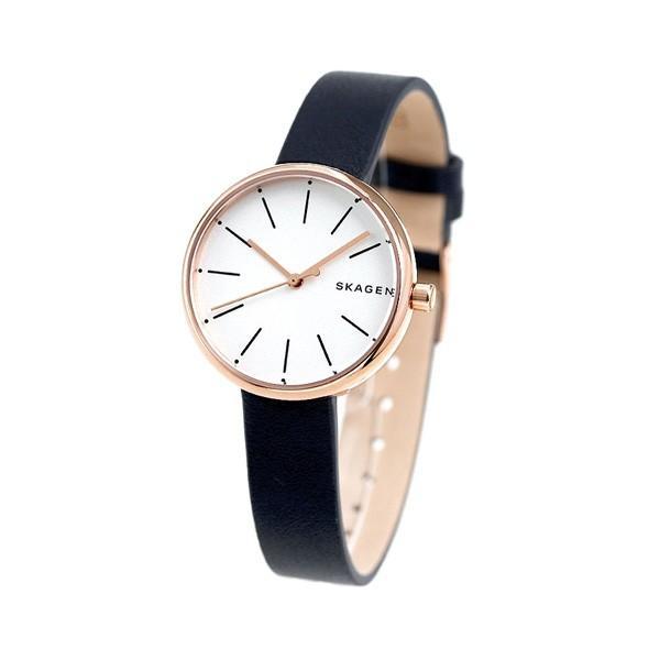 スカーゲン 腕時計 レディース シグネチャー 30mm 革ベルト SKW2592 シルバー×ネイビー SKAGEN 時計