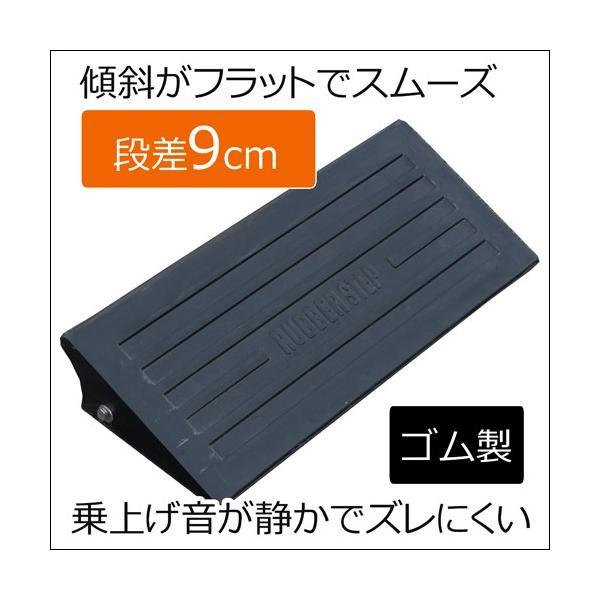 段差スロープ段差プレート 段差ステップカーステップゴム製段差プレートNEWラバーステップ H90基本590×260×90黒