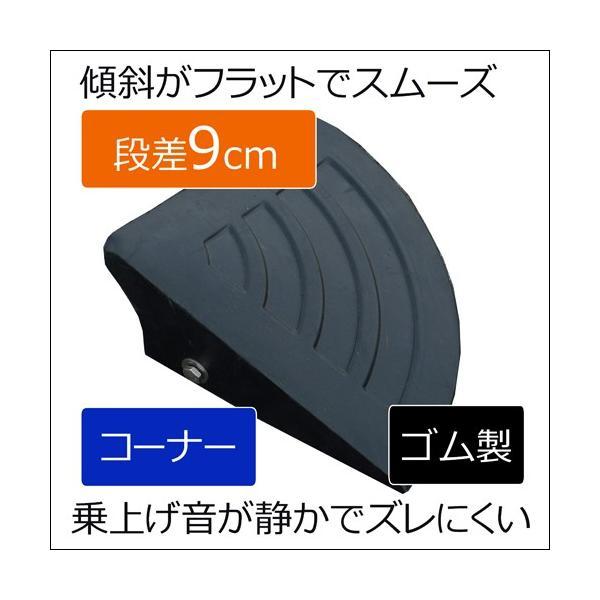 段差スロープ段差プレート 段差ステップカーステップゴム製段差プレートNEWラバーステップ H90コーナー260×260×90黒