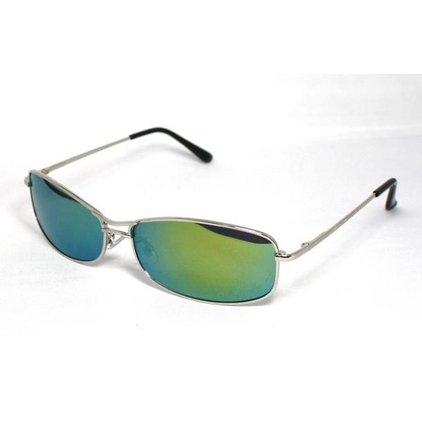 偏光レンズサングラス ツーブリッジ メンズ  UVカット イエローミラーレンズ  8201-6