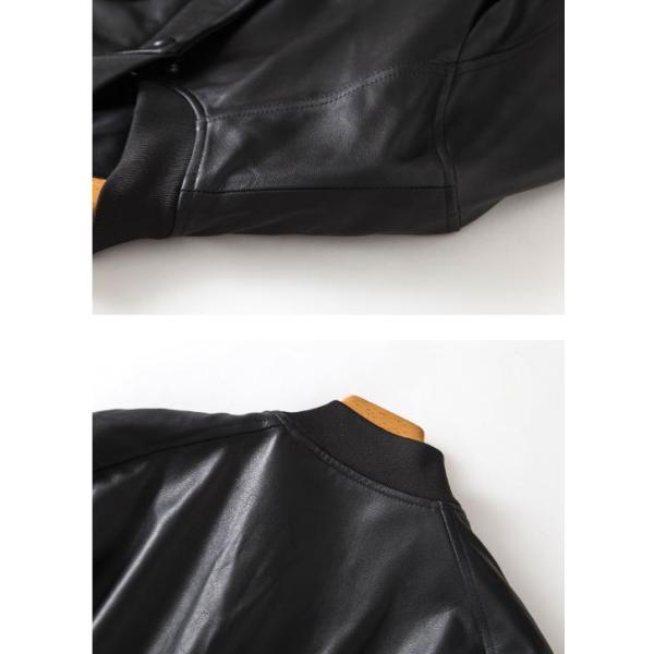 ライダース ジャケット メンズ アウター ラム革レザージャケット本革 ミリタリー立て襟シングル 【高級羊革】 革ジャン ライディングライダース MA-1 Gジャン|nantemostore|18