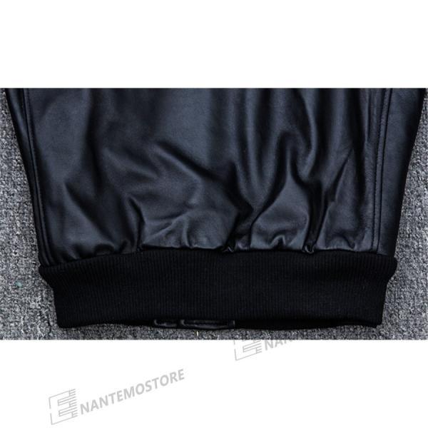 ライダース ジャケット メンズ アウター ラム革レザージャケット本革 ミリタリー立て襟シングル 【高級羊革】 革ジャン ライディングライダース MA-1 Gジャン|nantemostore|09