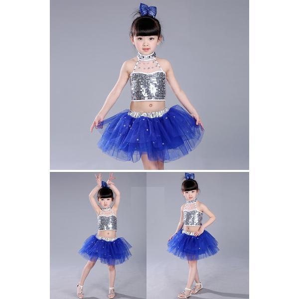 5bf542fc3d2e2 ... ダンス衣装 セットアップ スパンコール 衣装 チュチュスカート トップス 子供 キッズ 女の子 ワンピース 演出服 100 110 ...