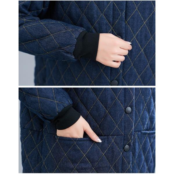 中綿コート レディース コート デニムコート 冬 40代 アウター 中綿 チェスターコート ロング ジャケット 厚手 防寒 暖かい 体型カバー 大きいサイズ|nara-amaken|11