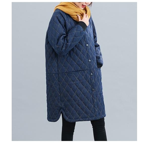 中綿コート レディース コート デニムコート 冬 40代 アウター 中綿 チェスターコート ロング ジャケット 厚手 防寒 暖かい 体型カバー 大きいサイズ|nara-amaken|05