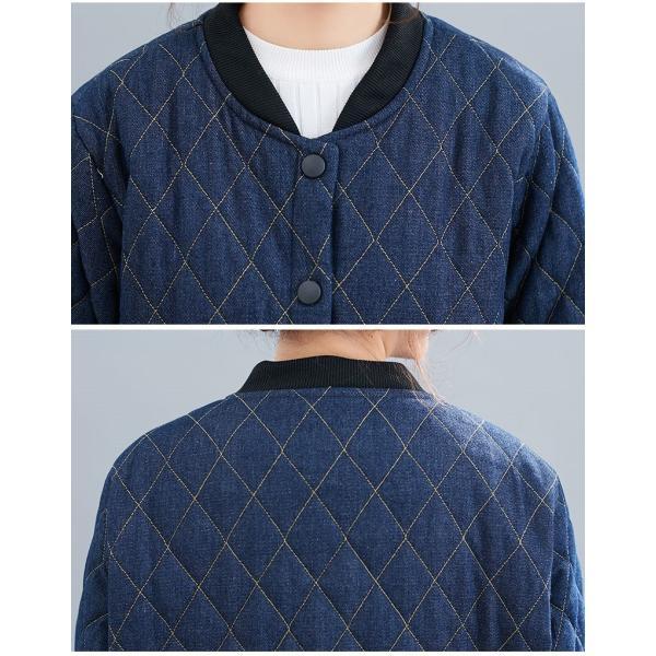 中綿コート レディース コート デニムコート 冬 40代 アウター 中綿 チェスターコート ロング ジャケット 厚手 防寒 暖かい 体型カバー 大きいサイズ|nara-amaken|10