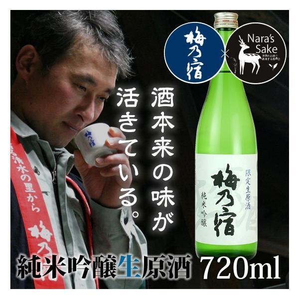 「梅乃宿」純米吟醸生原酒720ml/奈良県産ひのひかり/生酒/非加熱/冷酒/純米吟醸酒 nara-izumiya