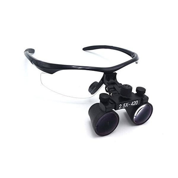 Doc.Royal 2.5倍拡大鏡LEDライト 双眼ルーペ 光学ルーペ  ポータブル拡大鏡  実験室用 研究用ルーペ ケー