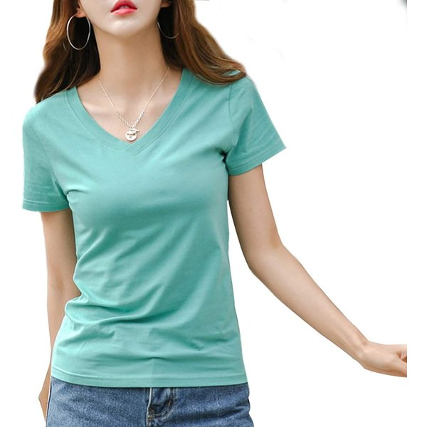 ジンジンW カジュアルTシャツスポッツランニングウェア吸湿快適フィットコットンTシャツVネッククールネック2タイプ グリーン