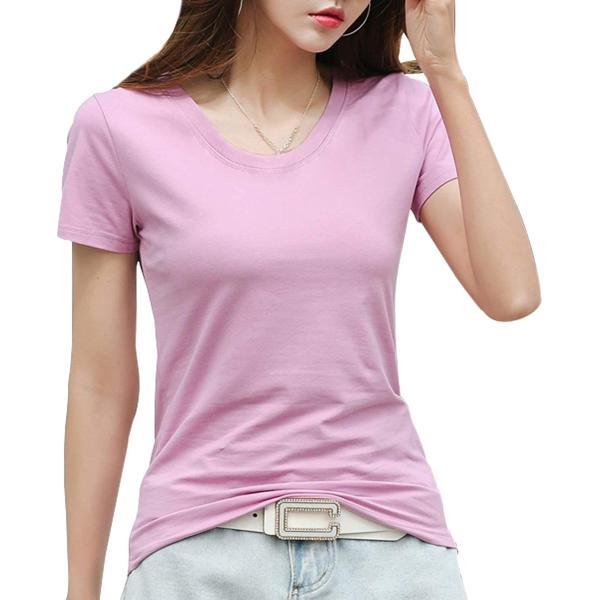 ジンジンW カジュアルTシャツスポッツランニングウェア吸湿快適フィットコットンTシャツVネッククールネック2タイプ ピンク M