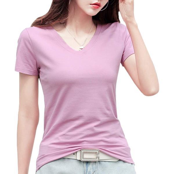 ジンジンW カジュアルTシャツスポッツランニングウェア吸湿快適フィットコットンTシャツVネッククールネック2タイプ ピンク S