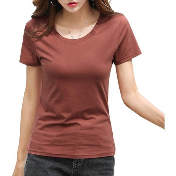 ジンジンW カジュアルTシャツスポッツランニングウェア吸湿快適フィットコットンTシャツVネッククールネック2タイプ レッド L
