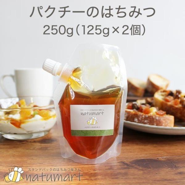 パクチー の はちみつ 250g(125g×2袋) コリアンダー 100%純粋 キャップ付き スタンドパック 蜂蜜 抗菌作用 メール便A TSG ns8